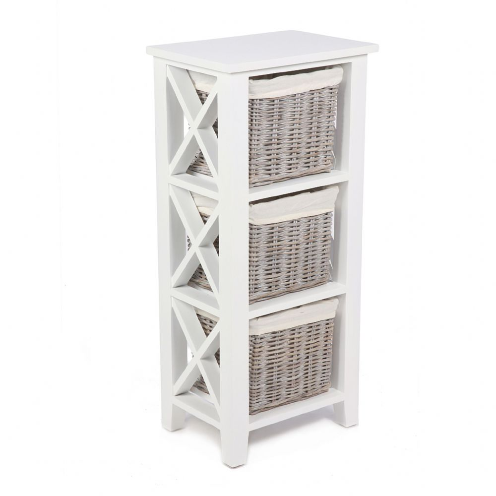 "3 Basket Vertical ""X"" Cabinet in Matt White with Cotton Linings"